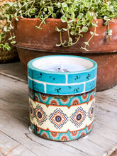 Load image into Gallery viewer, Turquoise Aztec Scented Soy Candle