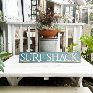 Hand painted wood sign surf shack