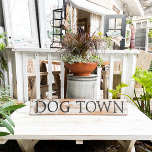 hand painted wood sign dog town venice california