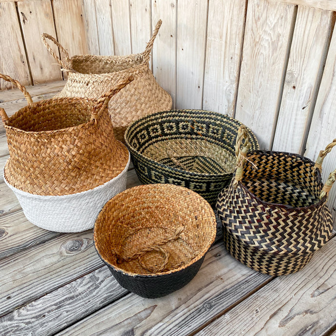 natural woven pop up belly baskets