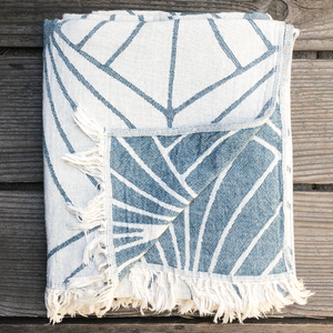 Leaf Throw in Beige and Blue