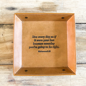 handmade leather quote tray