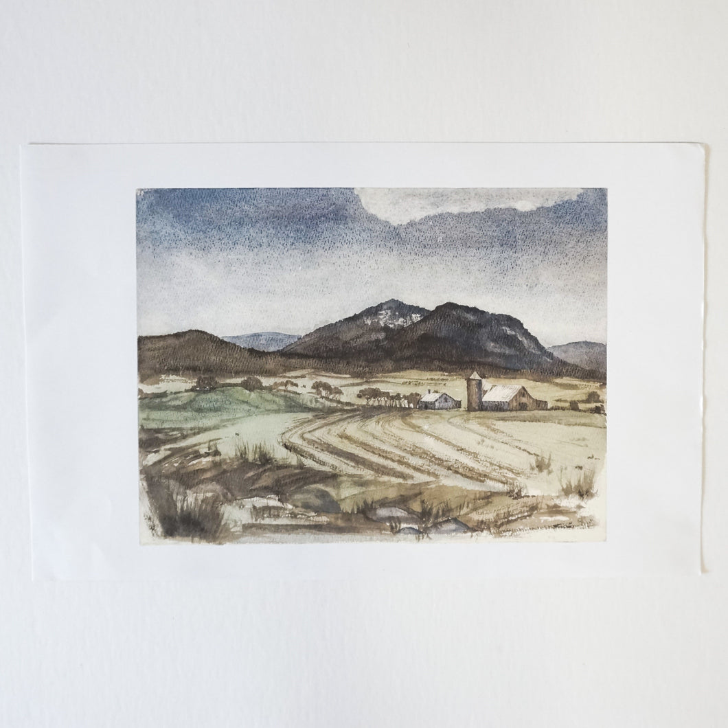 Rural Farm Watercolor Print