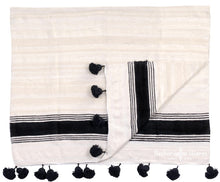 Load image into Gallery viewer, Moroccan Wool Pom Pom Blanket, White and Ebony Bold Stripe