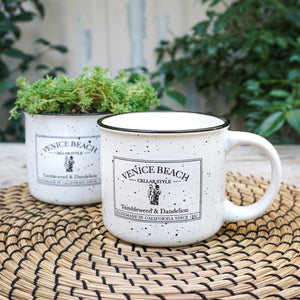 white with black speckle campfire style mug with Venice Beach cellar style logo
