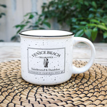 Load image into Gallery viewer, white with black speckle campfire style mug with Venice Beach cellar style logo