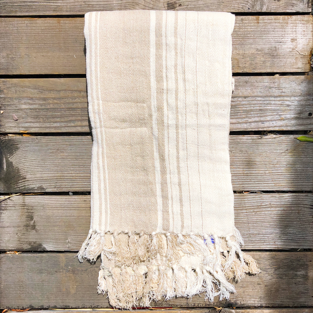 Harbor Stripe Natural Throw