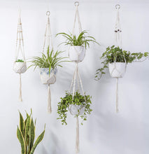 Load image into Gallery viewer, Black Beaded Macrame Plant Hanger