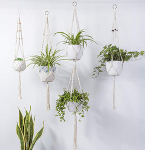Black Beaded Macrame Plant Hanger