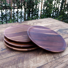 Load image into Gallery viewer, set of 4 food safe acacia wood plates