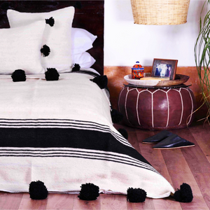 Moroccan Wool Pom Pom Blanket, White and Ebony Bold Stripe