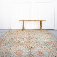 Load image into Gallery viewer, vintage hand knotted wool rug 9 feet 5 inches by 6 feet