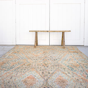 vintage hand knotted wool rug 9 feet 5 inches by 6 feet