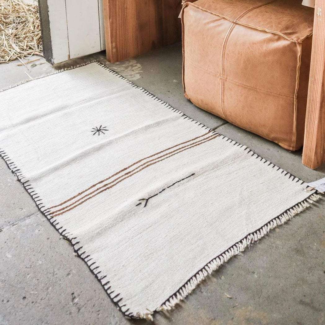 Hemp Kilim Rug Star and Stripes