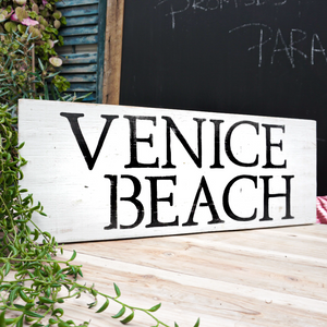 handmade distressed painted wood sign venice beach