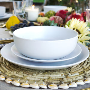 "White stoneware dinner service set Service for 1 this set includes: a 10.5"" dinner plate, an 8.25"" salad plate, a 32 Oz/7.5"" dinner bowl, and a 22 Oz oversized mug"