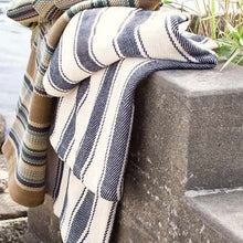 Load image into Gallery viewer, Blue Awning Stripe Woven Cotton Throw