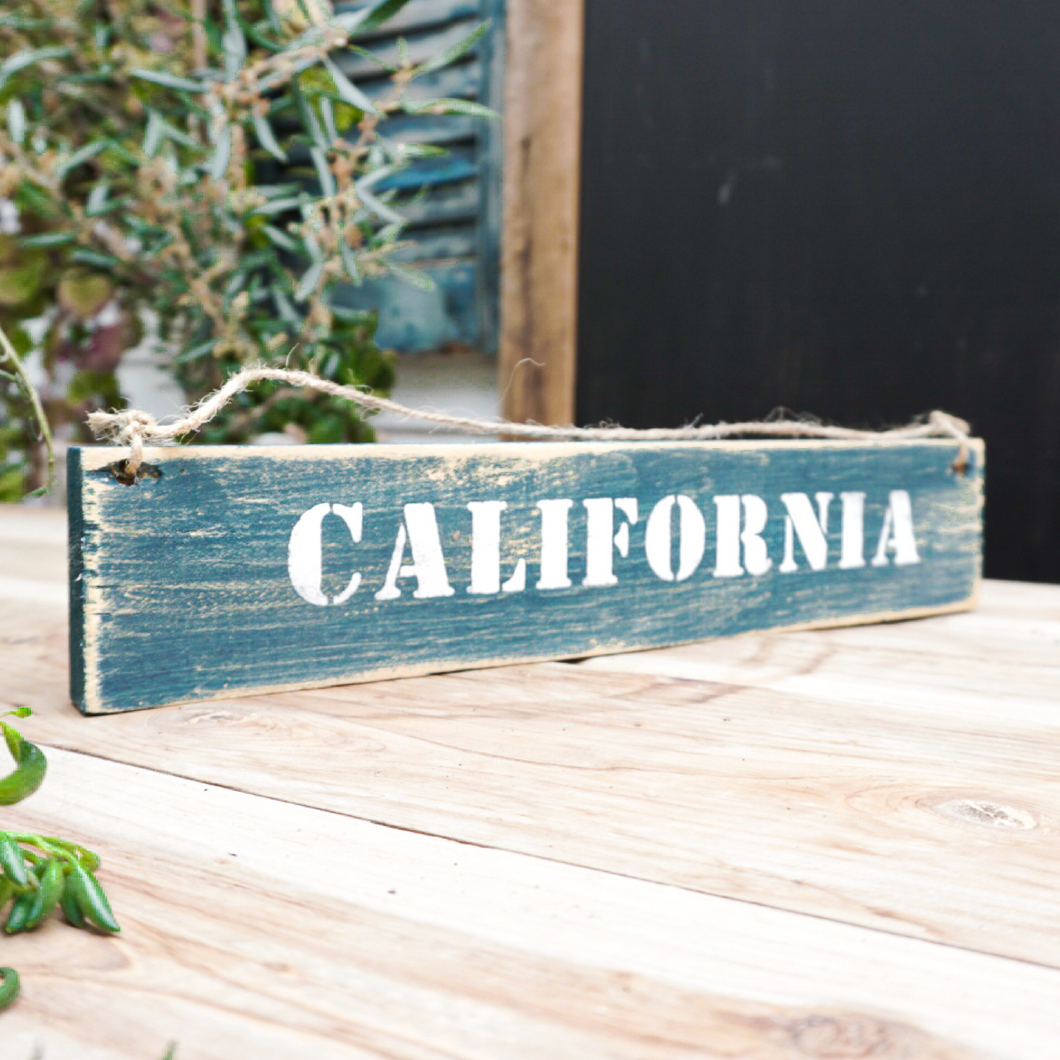 Handmade distressed wood california sign