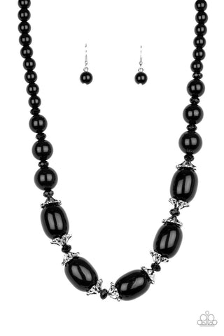 After Party Posh - Black Necklace Earrings