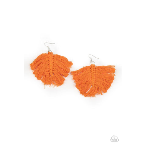 Macrame Mamba – Orange Earrings