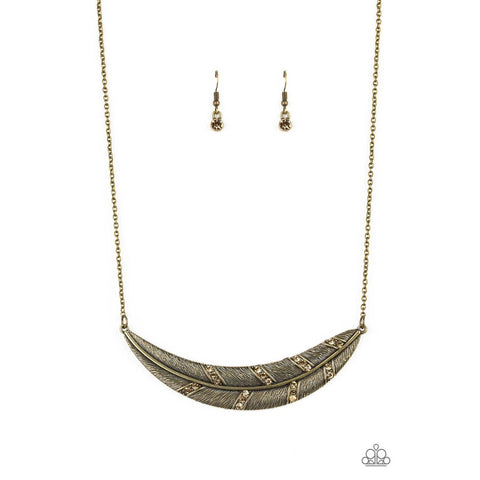 Say You QUILL – Brass Necklace earring Set Paparazzi Jewelry Accessories