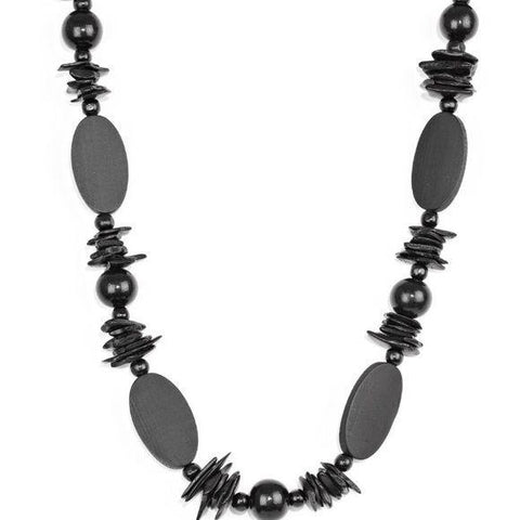 Carefree Cococay Black Wood Necklace Earrings Set