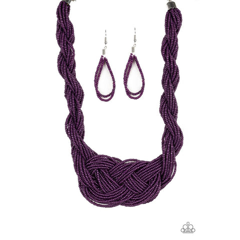 A Standing Ovation Purple Necklace Earring Set Paparazzi Newelry