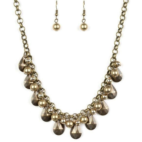 Stage Stunner – Brass Necklace Earring Set
