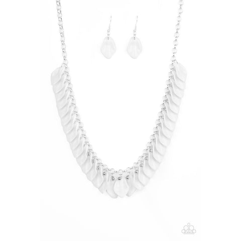 Super Bloom – White Necklace Earring Jewelry Set