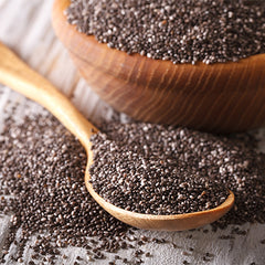Chia seeds superfood on table with spoon