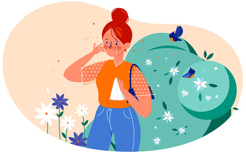 illustrated image of a girl dealing with allergy symptoms