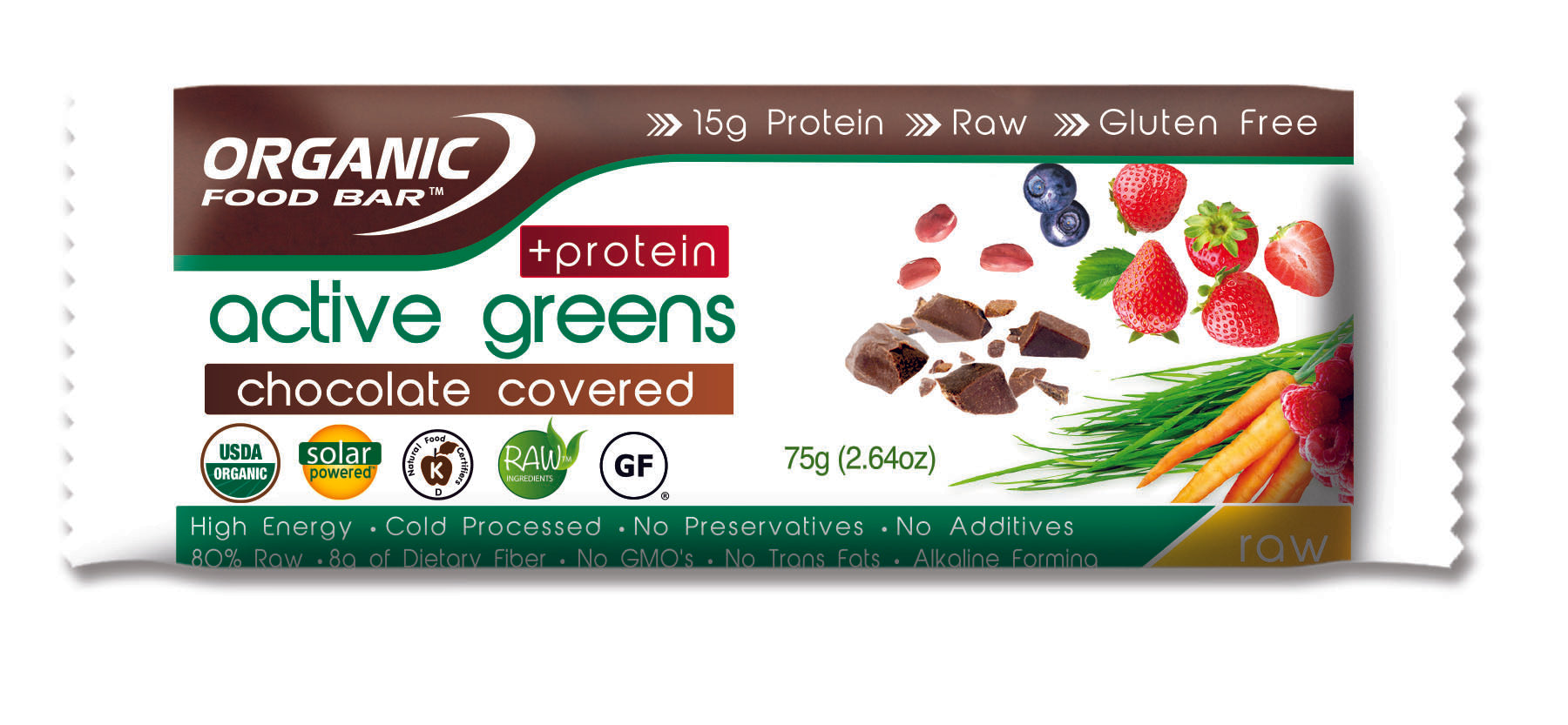 Active Greens Protein Chocolate Covered Organic Food Bar