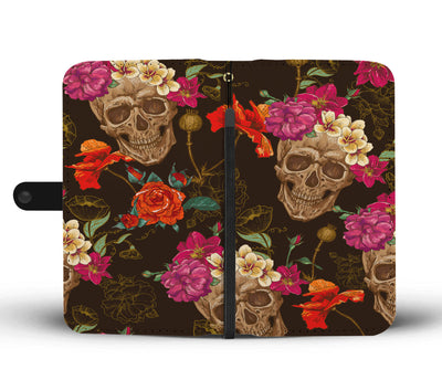 Rose Skull Phone Wallet Case