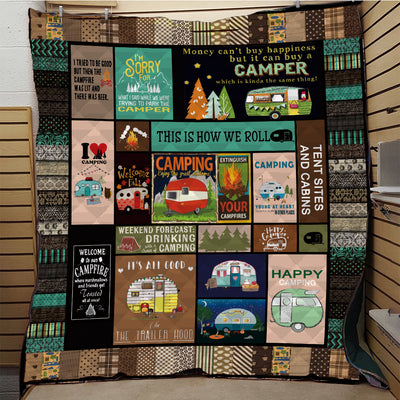 CAMPING CARAVAN QUILT BLANKET - LIMITED EDITION