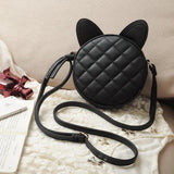HIGH QUALITY BLACK CAT EARED LEATHER MESSENGER BAG