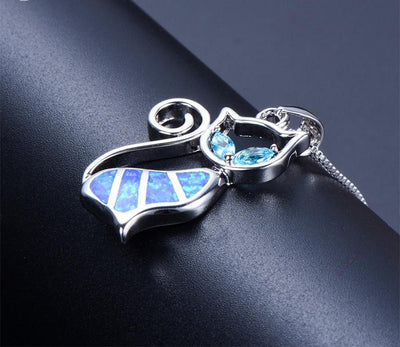 Blue  Opal Fire Cat Necklace - 925 Sterling Silver