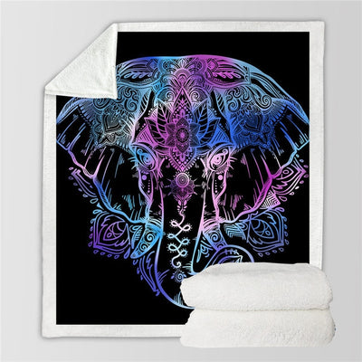 Indian Elephant Throw Blanket