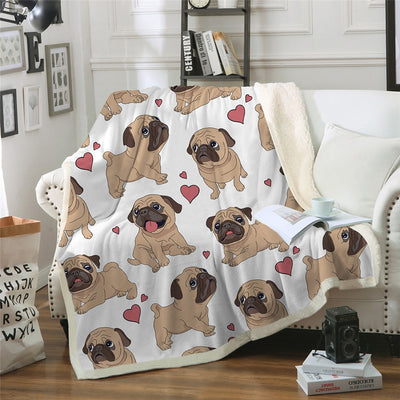 Cute Pug Throw Blanket