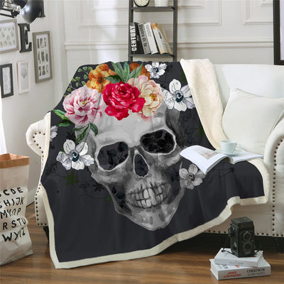 Sugar Skull Plush Throw Blanket