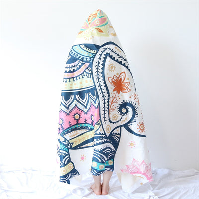 Rainbow Elephant Hooded Blanket