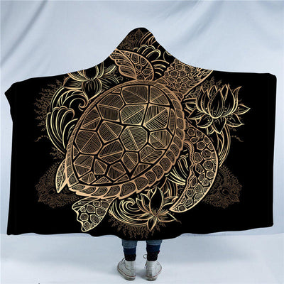 Gold Turtle Hooded Blanket