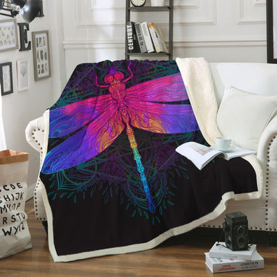 Dragonfly Mandala Throw Blanket
