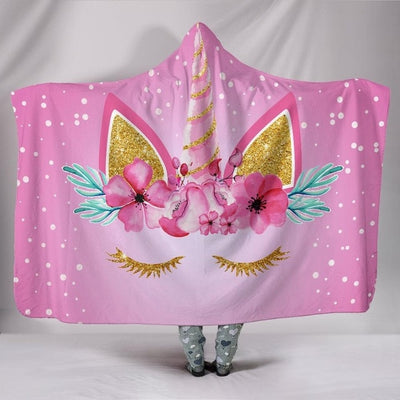 Flower Unicorn Hooded Blanket