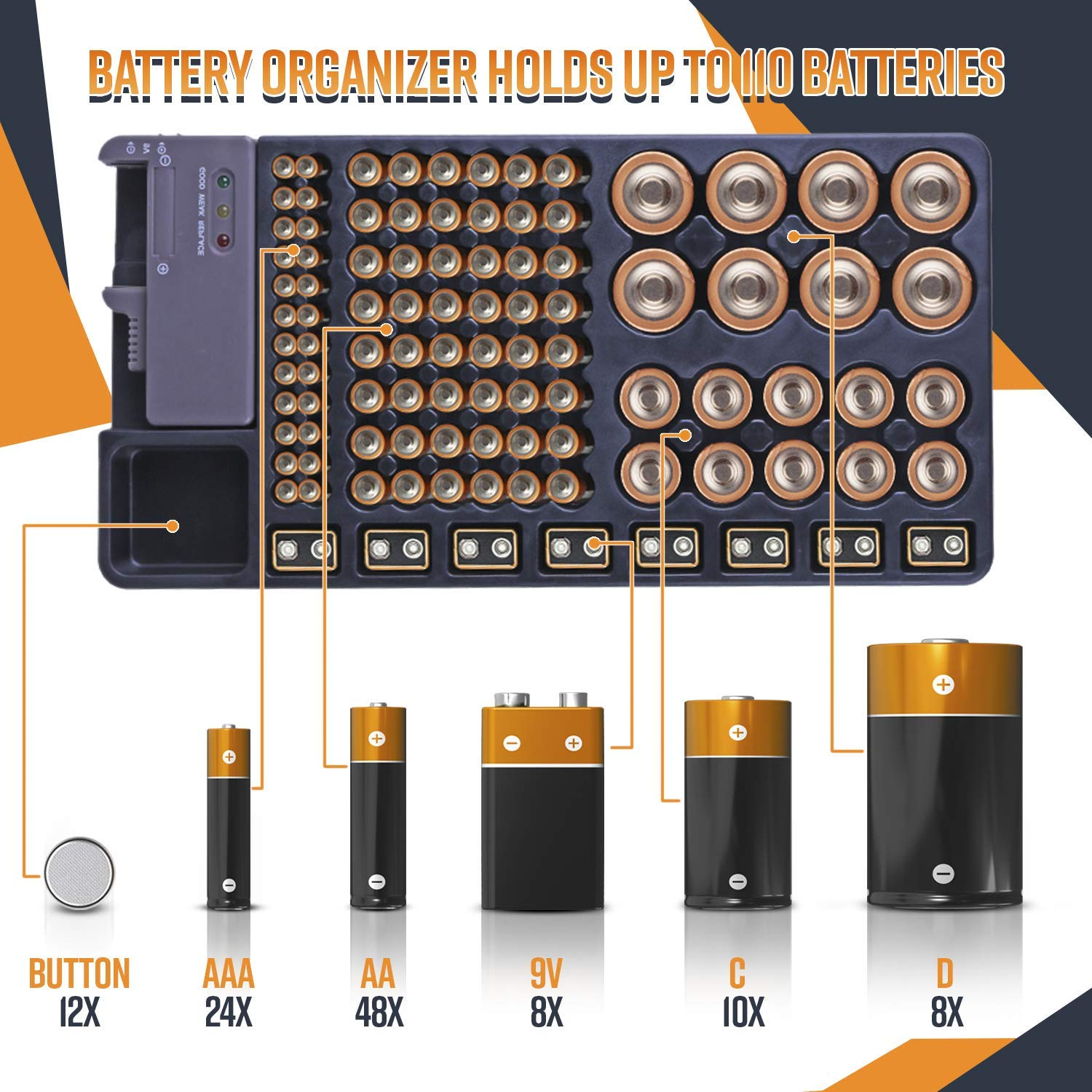 Battery Storage Organizer with Removable Tester 72 Battery Holder Box Case US