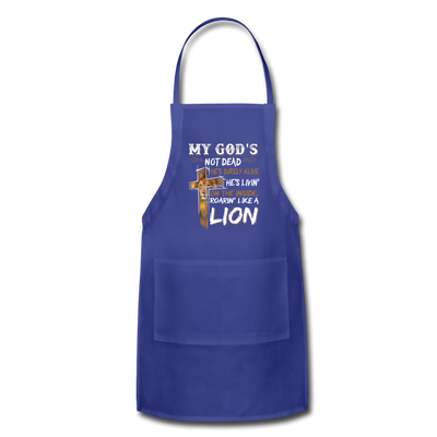 MY GOD'S IS NOT DEAD - Adjustable Apron - royal blue