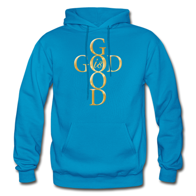 GOD IS GOOD - HEAVY BLEND ADULT HOODIE - turquoise