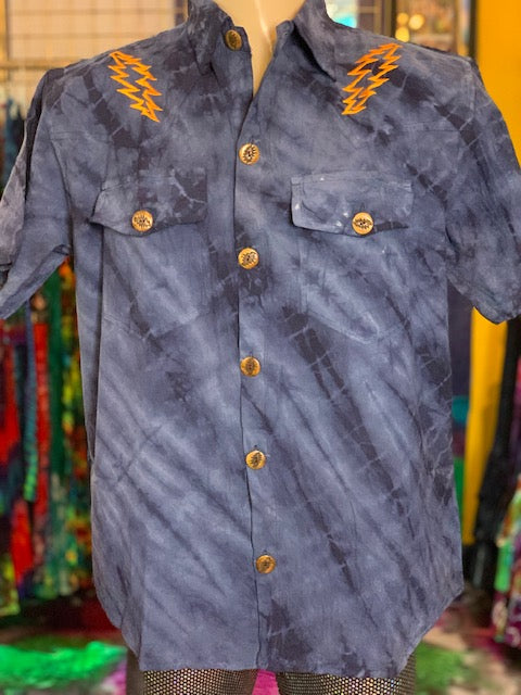 Jayli Short Sleeve Button Down #3 (Dark Blue)