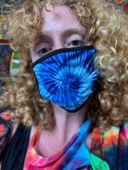 Blue Tiedye  Printed Behind the Ear Face Mask (3 Options)
