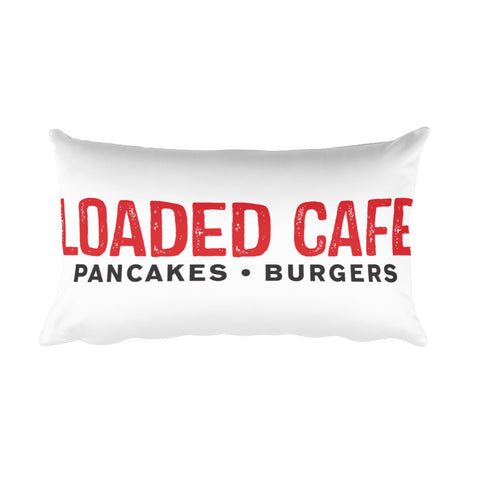 Loaded Cafe Logo white Rectangular Pillow