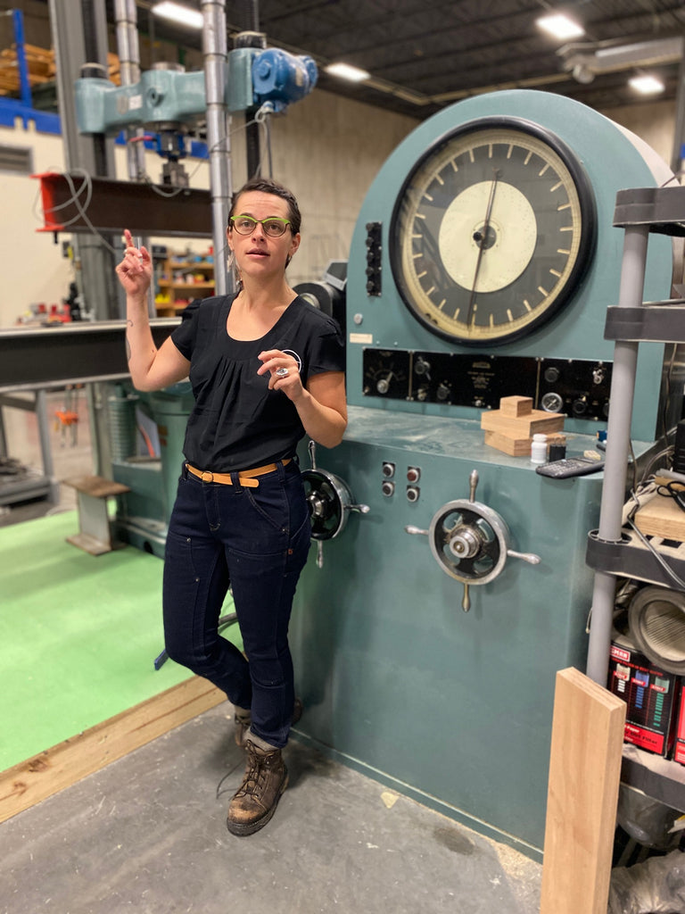 Michaela in the PFS TECO Workshop Dovetail Workwear